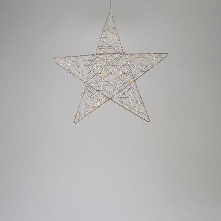 Φωτιζόμενο αστέρι 20microLED μπαταρίας με χρονοδιακόπτη Σαμπανί / Θερμό Λευκό 30cm