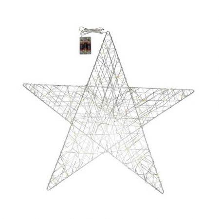 Φωτιζόμενο αστέρι 45microLED μπαταρίας με χρονοδιακόπτη Ασημί / Θερμό Λευκό 70x67cm