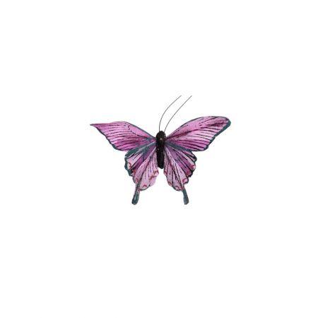 Διακοσμητική πεταλούδα deluxe με κλιπ Μωβ 12cm