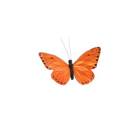Διακοσμητική πεταλούδα με κλιπ Πορτοκαλί 15cm