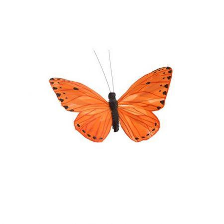 Διακοσμητική πεταλούδα με κλιπ Πορτοκαλί 20cm