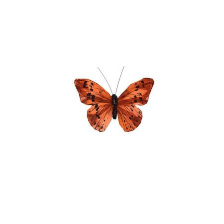Διακοσμητική πεταλούδα deluxe με κλιπ Ροδακινί 12cm