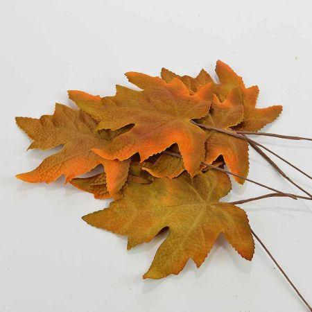 Σετ 6τχ Διακοσμητικά Φθινοπωρινά φύλλα Καφέ 11x12cm