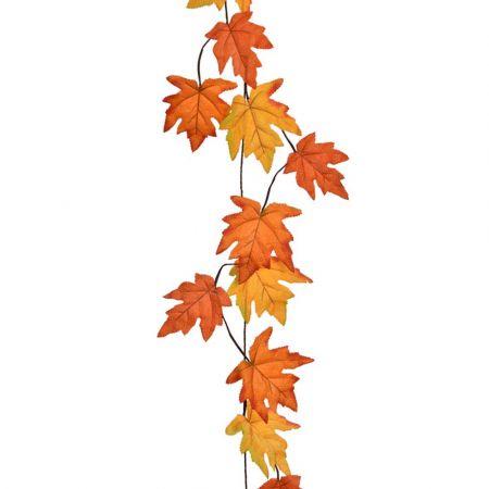 Διακοσμητική γιρλάντα με φύλλα Σφένδαμου - Πορτοκαλί 180cm