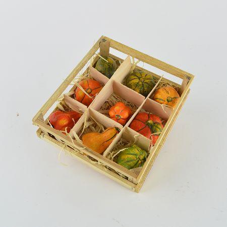 Σετ 9τχ Διακοσμητικές κολοκύθες κεραμικές Πορτοκαλί - Κίτρινο - Πράσινο