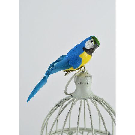 Διακοσμητικό παπαγαλάκι Parakeet με κλιπ Μπλε 14cm