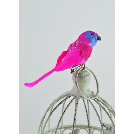 Διακοσμητικό παπαγαλάκι Parakeet με κλιπ Φούξια 14cm