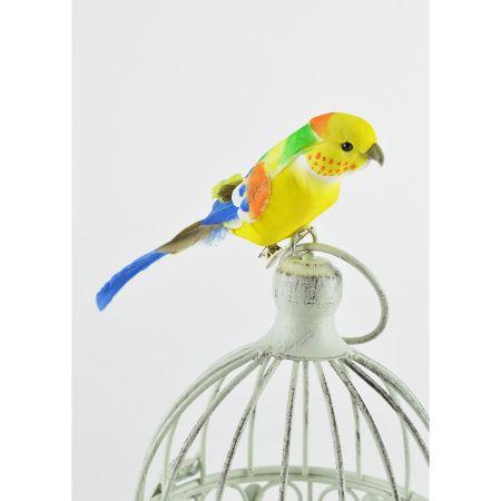 Διακοσμητικό παπαγαλάκι Parakeet με κλιπ Κίτρινο - Μπλε 17cm