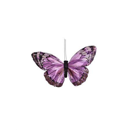 Διακοσμητική πεταλούδα με κλιπ Λιλά 17cm
