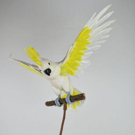 Διακοσμητικός παπαγάλος Κακατούα με ανοιγμένα φτερά Λευκό - Κίτρινο 44cm