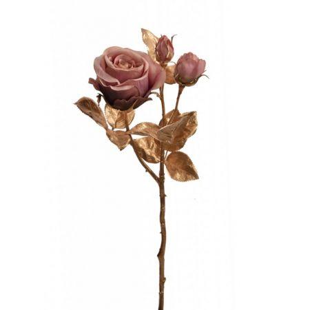Χριστουγεννιάτικο τριαντάφυλλο Χρυσό με άνθη Σάπιο μήλο 24cm