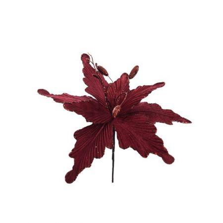 Χριστουγεννιάτικο Αλεξανδρινό λουλούδι deluxe Μπορντό 28cm