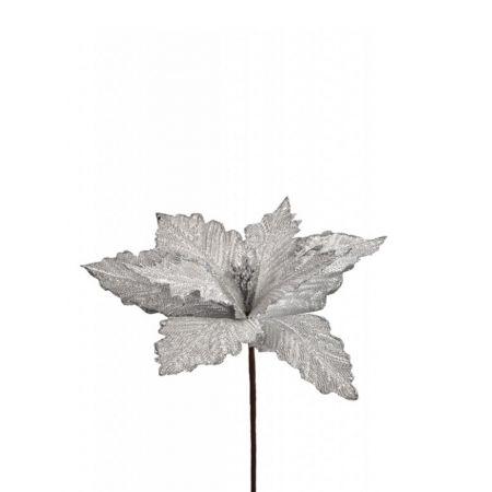 Χριστουγεννιάτικο Αλεξανδρινό λουλούδι Ασημί 27cm