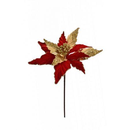 Χριστουγεννιάτικο Αλεξανδρινό λουλούδι deluxe Κόκκινο - Χρυσό 50cm