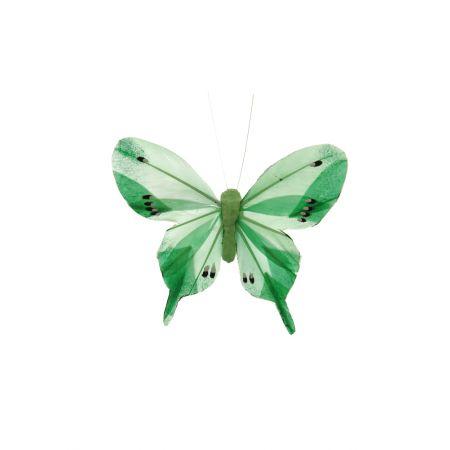 Διακοσμητική πεταλούδα κατασκευασμένη από φερά και πλαστικό, με μανταλάκι - κλιπ για εύκολη τοποθέτηση.