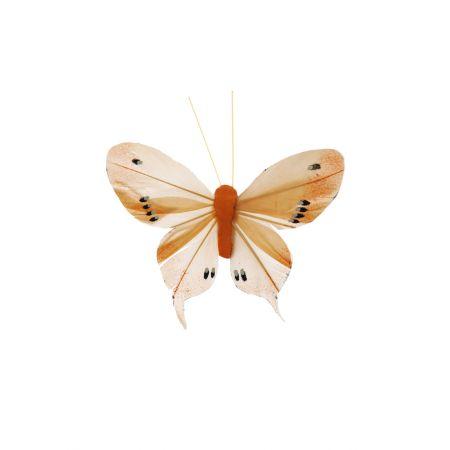 Διακοσμητική πεταλούδα με κλιπ Πορτοκαλί, 10cm