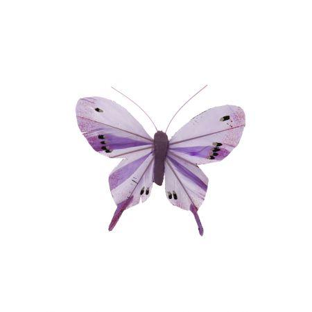 Διακοσμητική πεταλούδα με κλιπ Λιλά, 10cm