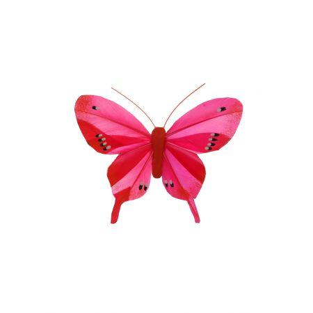 Διακοσμητική πεταλούδα με κλιπ Φούξια, 10cm