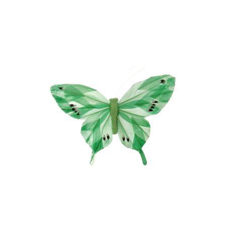 Διακοσμητική πεταλούδα με κλιπ Πράσινη, 15cm
