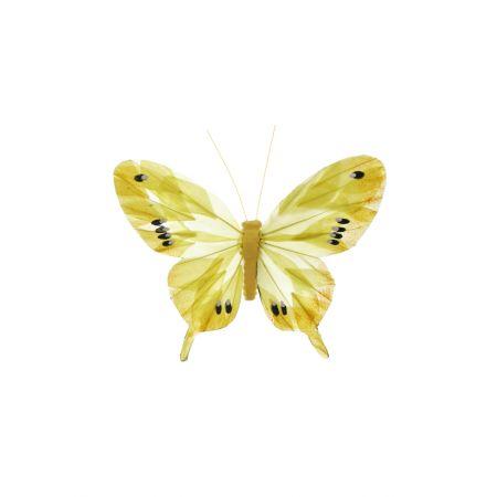 Διακοσμητική πεταλούδα με κλιπ κίτρινη, 15cm