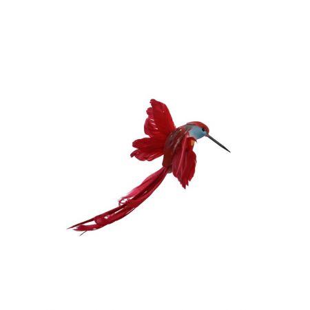Διακοσμητικό πουλάκι Κολιμπρί με κλιπ Κόκκινο 15cm