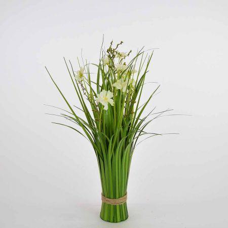 Διακοσμητική δέσμη γρασίδι Πράσιμη με κρέμ άνθη 48cm