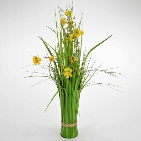 Διακοσμητική δέσμη γρασίδι Πράσινη με κίτρινα άνθη 66cm