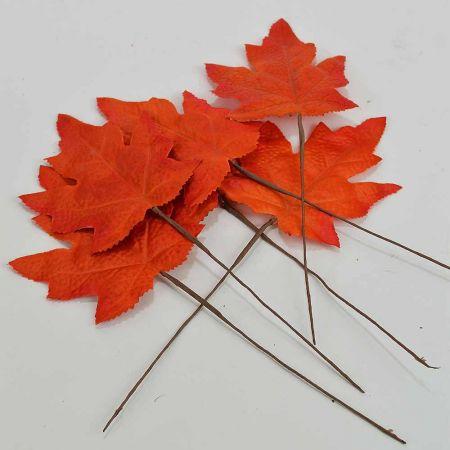 Σετ 6τχ Διακοσμητικά Φθινοπωρινά φύλλα Κόκκινα 9x11cm