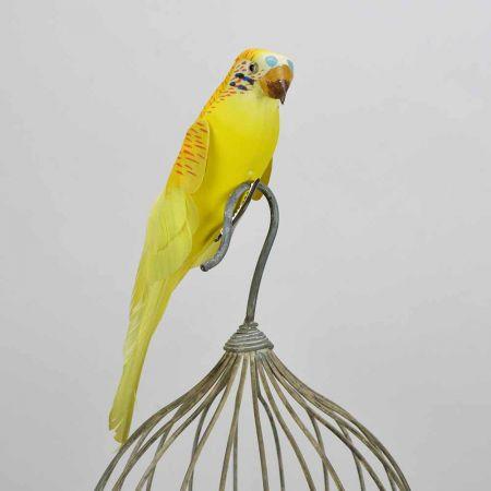 Διακοσμητικό παπαγαλάκι Parakeet Kίτρινο 27cm
