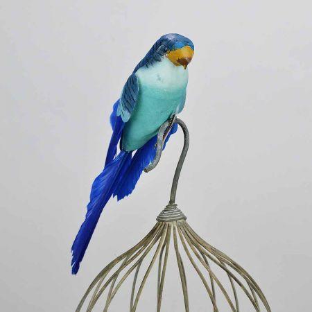 Διακοσμητικό παπαγαλάκι Parakeet Μπλε 27cm