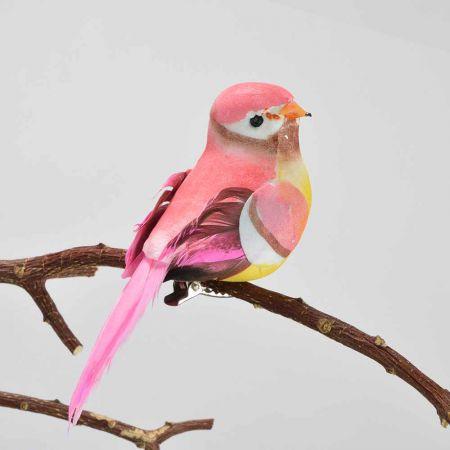 Διακοσμητικό Ανοιξιάτικο πουλάκι με κλιπ Ροζ 11cm