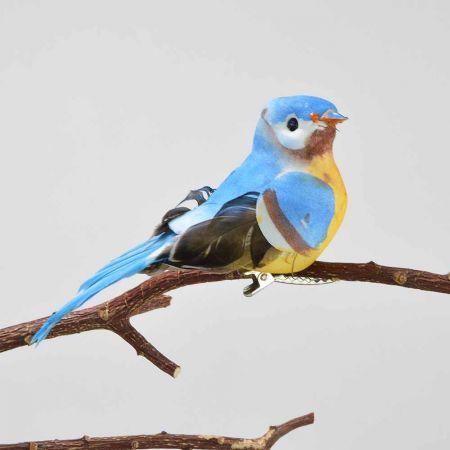 Διακοσμητικό Ανοιξιάτικο πουλάκι με κλιπ Μπλε 11cm