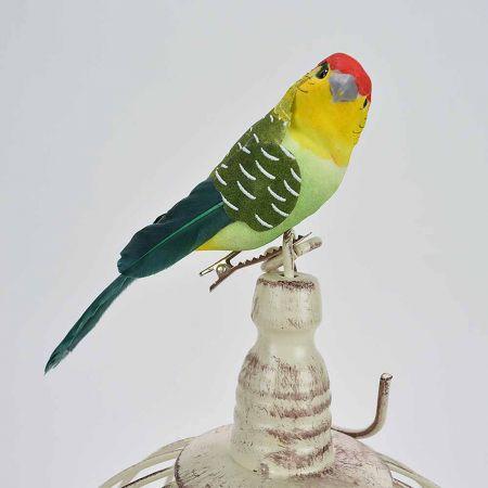 Διακοσμητικό παπαγαλάκι Parakeet Πράσινο με κλιπ 14cm