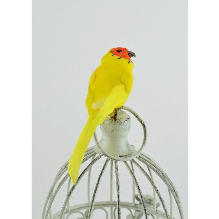 Διακοσμητικό παπαγαλάκι Parakeet με κλιπ Κίτρινο 14cm