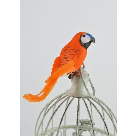 Διακοσμητικό παπαγαλάκι Parakeet με κλιπ Πορτοκαλί 14cm