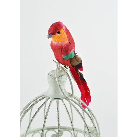 Διακοσμητικό παπαγαλάκι Parakeet με κλιπ Κόκκινο 17cm