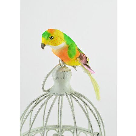 Διακοσμητικό παπαγαλάκι Parakeet με κλιπ Κίτρινο - Πράσινο 17cm