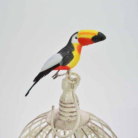 Διακοσμητικό τροπικό πουλί Τουκάν με κλιπ Κόκκινο - Κίτρινο 13cm