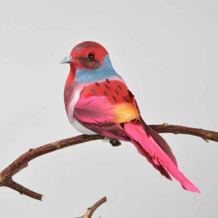 Διακοσμητικό Ανοιξιάτικο πουλάκι με κλιπ Κόκκινο 12cm