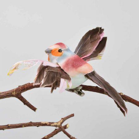 Διακοσμητικό Ανοιξιάτικο πουλάκι με ανοιγμένα φτερά με κλιπ Κόκκινο 9cm
