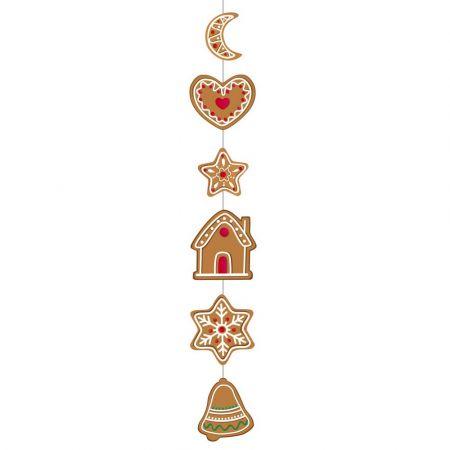 Χριστουγεννιάτικη χάρτινη γιρλάντα με μπισκότα gingerbread 105x18cm