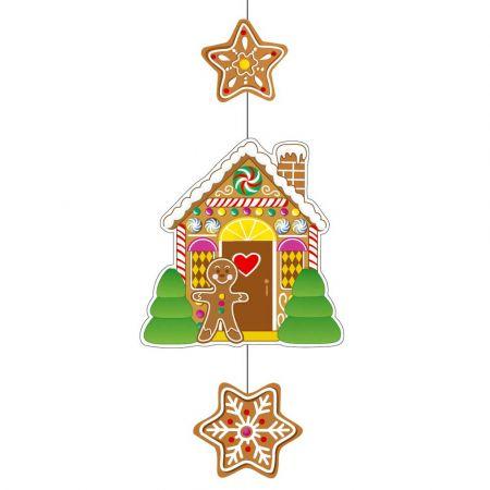 Χριστουγεννιάτικη χάρτινη γιρλάντα με μπισκότα gingerbread 75x28cm