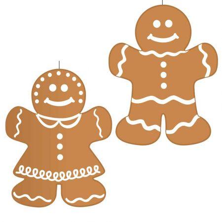 Σετ 2τχ Χριστουγεννιάτικο χάρτινο κρεμαστό αγόρι + κορίτσι gingerbread 40cm