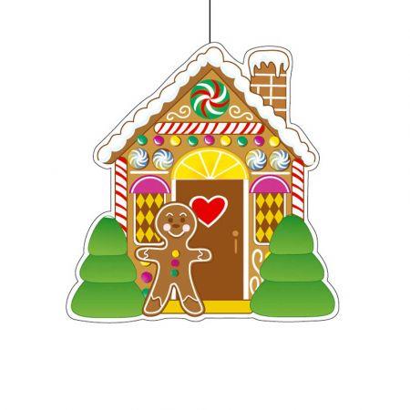 Χριστουγεννιάτικο χάρτινο κρεμαστό σπιτάκι gingerbread 30cm