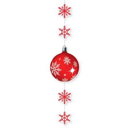 Χριστουγεννιάτικη χάρτινη γιρλάντα με νιφάδες και μπάλα Κόκκινη 115x28cm