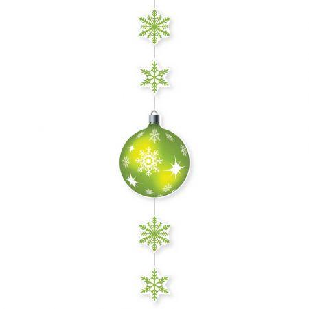 Χριστουγεννιάτικη χάρτινη γιρλάντα με νιφάδες και μπάλα Πράσινη 115x28cm
