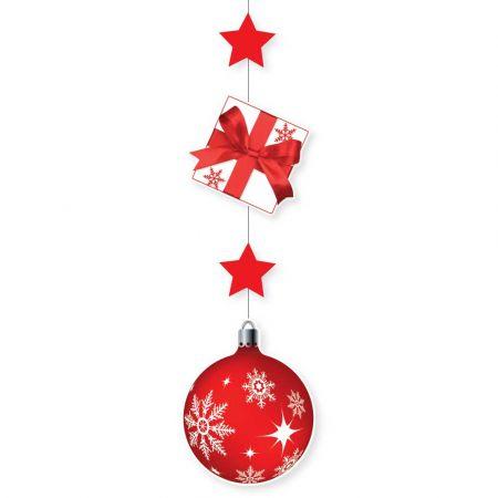 Χριστουγεννιάτικη χάρτινη γιρλάντα με Δώρο και μπάλα Κόκκινη 115x28cm