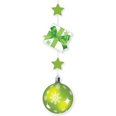 Χριστουγεννιάτικη χάρτινη γιρλάντα με Δώρο και μπάλα Πράσινη 100x28cm