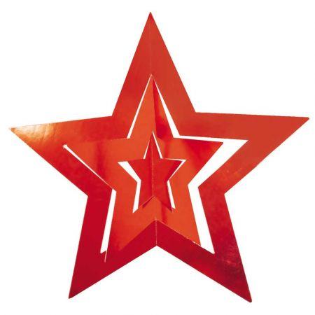 Διακοσμητικό κρεμαστό αστέρι τριπλό Κόκκινο 68cm