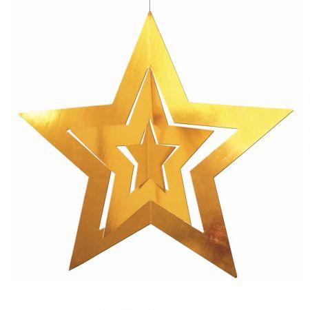 Διακοσμητικό κρεμαστό αστέρι τριπλό Χρυσό 68cm